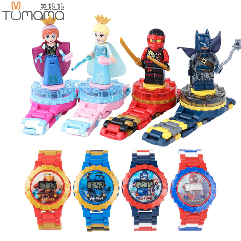 Super Hero Watch Building blocks Ninjagoed Marveling Avengers Figures Bricks Toys Compatible with Legoed Minecrafted Block Watch
