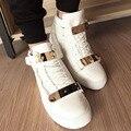 Ventas calientes 2017 de La Moda de Primavera Zapatillas de deporte de Marca Zapatos de Los Hombres Top del Alto de Lentejuelas de Metal de Los Hombres de las Zapatillas de deporte Ocasionales Del Deporte Envío gratis