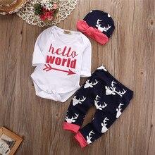 2016 Boy Cotton Tops Romper+Deer Pants Leggings Clothing Set Baby Girl Christmas Clothes