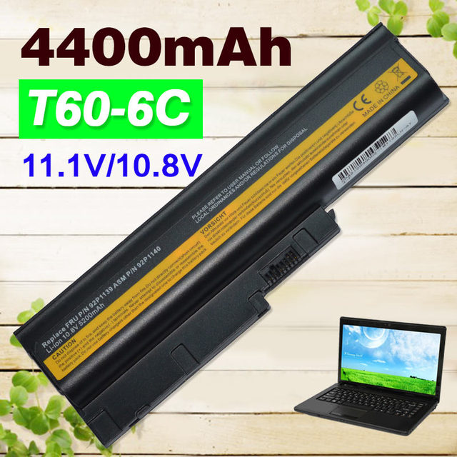 US $14 9 |T60 laptop Battery 4400mAh for Lenovo/ IBM Thinkpad T61 R60 Z60  z61 R61 92P1140 40Y6799 92P1138 Special Price!!-in Laptop Batteries from