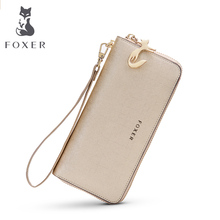 Фотография FOXER Famous brand Girls Casual Clutch Bags Women Purse Fashion Gold Lady Leather long Wallets free shipping