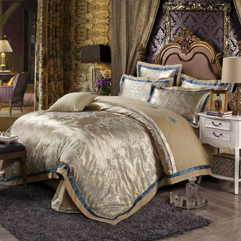 European Style Mulberry Silk Bed Linen Set Jacquard Satin