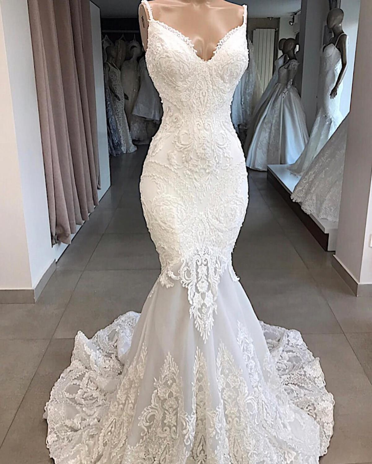 Vestidos De Novia White Mermaid Wedding Dress Backless Sexy V-Neck Lace Wedding Gowns Handmade Appluques Bridal Dress Gelinlik