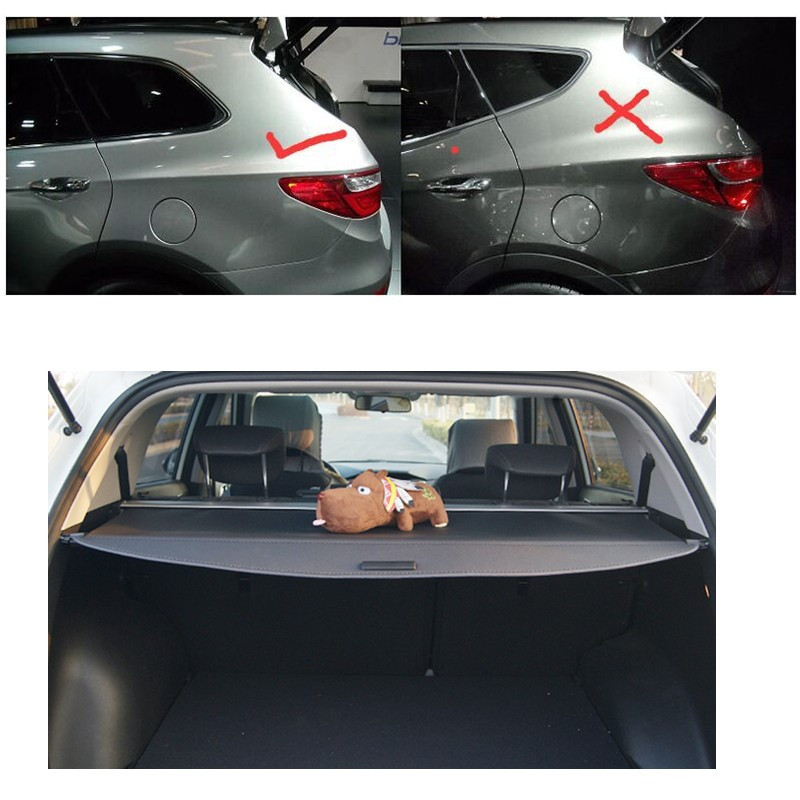 High Quality Trunk Shade BLACK Cargo Cover For Hyundai Grand Santa Fe 2013 2014 2015 car rear trunk security shield cargo cover for honda fit jazz 2008 09 10 11 2012 2013 high qualit black beige auto accessories