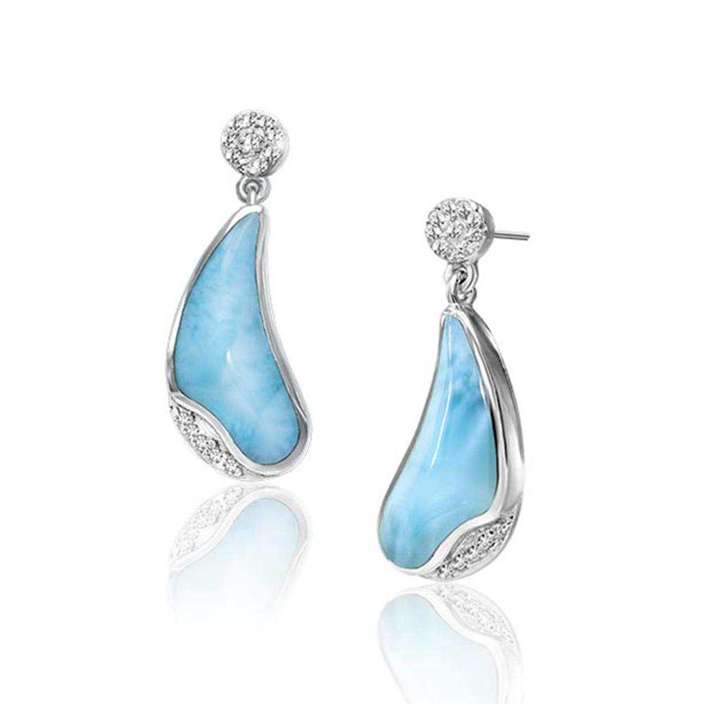 Real Natural Larimar Earring CZ Fine Jewelry Dangle Earring 100% 925 Sterling Silver Jewelry Silver Earrings for WomenReal Natural Larimar Earring CZ Fine Jewelry Dangle Earring 100% 925 Sterling Silver Jewelry Silver Earrings for Women