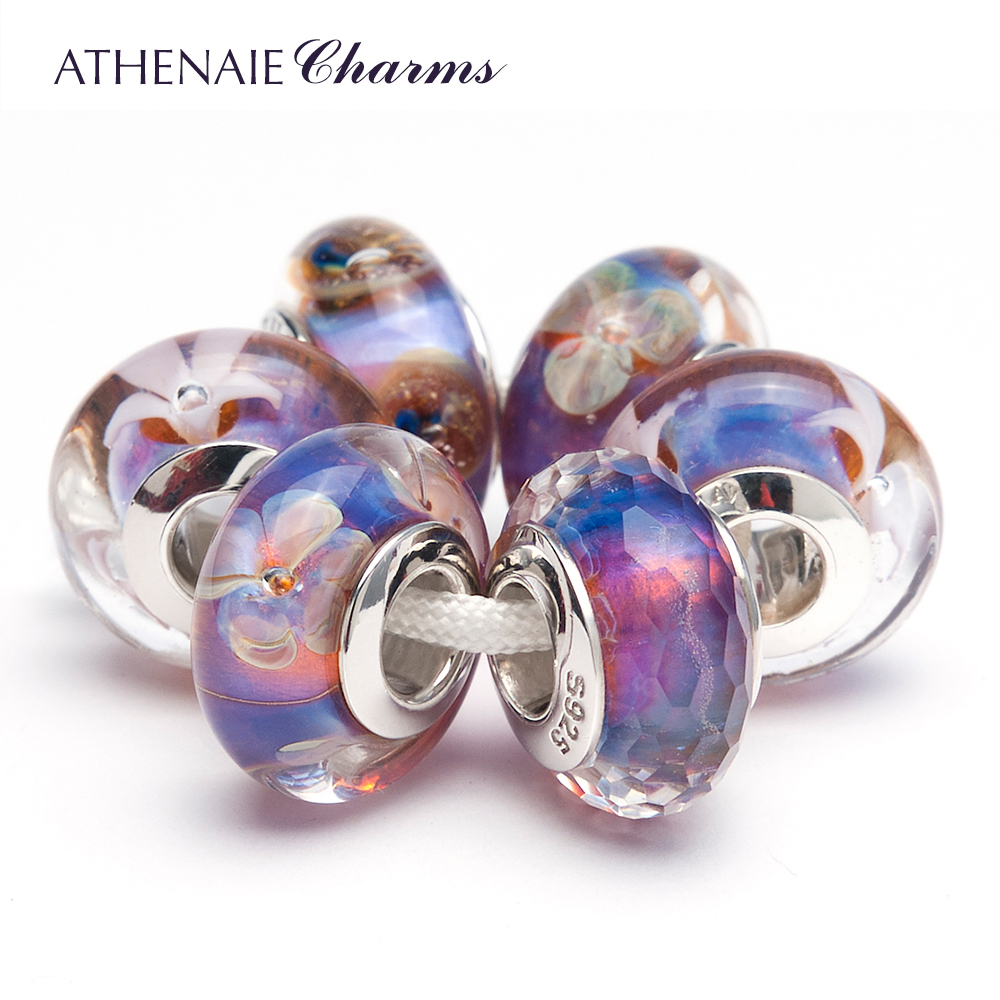 Hawaii Flower Blossom Murano Lampwork European Glass Charms Beads 925 Sterling Silver Core
