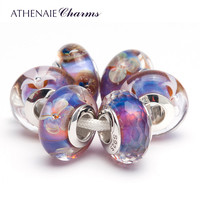 ATHENAIE 925 Sterling Silver Core Romantic Purple Murano Glass Charm Beads Kits Fit European Bracelets and Necklaces