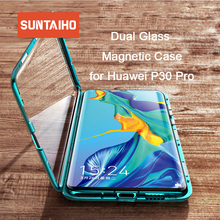 Suntaiho Metal Magnetic Case for Huawei P30 pro case Tempered Glass Back Magnet Cases Cover Mate 20