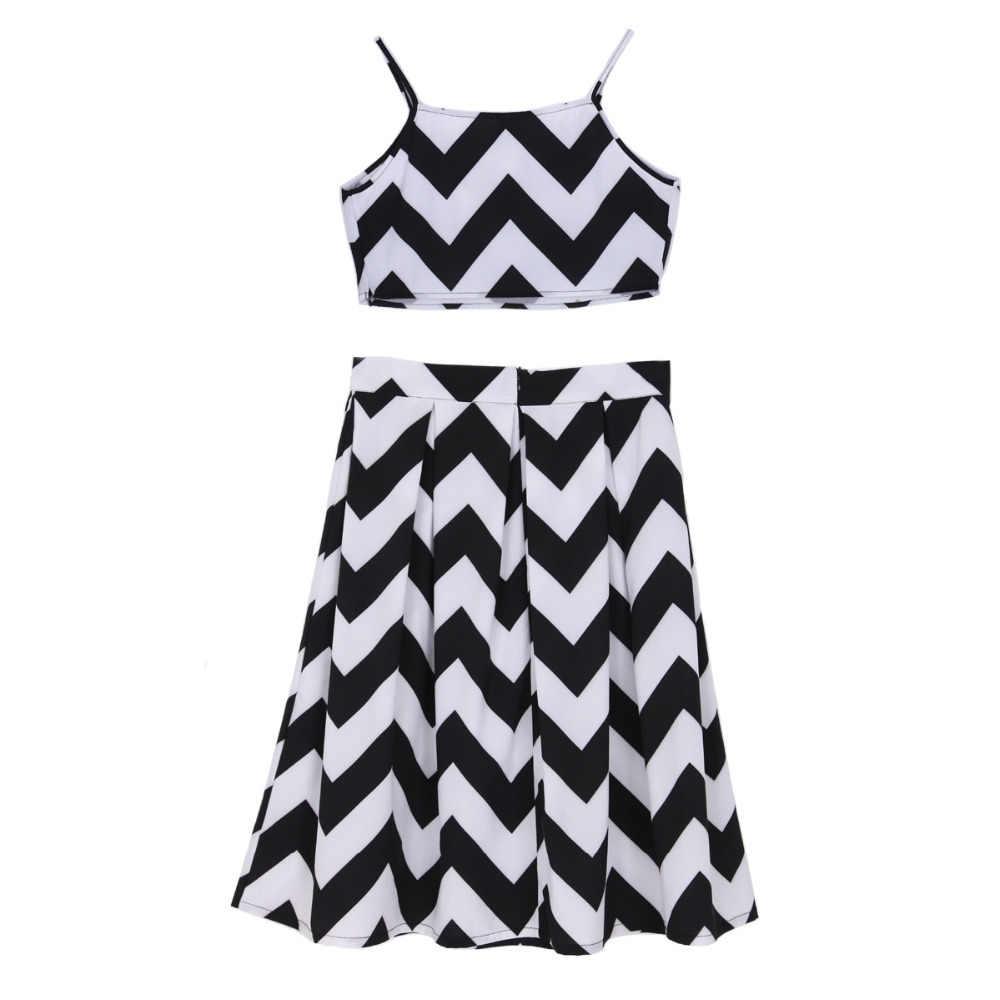 Женское сексуальное платье с волнистым принтом в полоску из двух частей, топ с открытой спиной и плиссированная повседневная юбка, Брендовое дизайнерское платье QZ1968