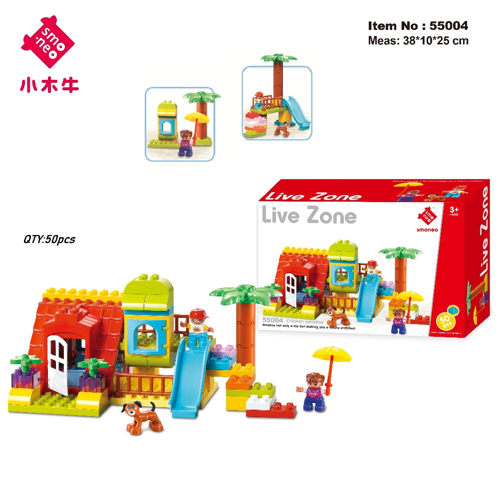 SMONEO 50Pcs 55004 Big Size Bricks Set DIY Creative Bricks Toys Child EDC Wange Building Block Bricks FIT for Lego for Duplo wange 8011 21 great architectures 11 models london bridge big ben tiananmen building block sets educational diy bricks toys