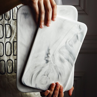 Nordic Style Marble Dinner Plates Bread Dessert Plate Sushi Dishes Desserts Cake Rectangle Board Tea Tray Kitchen Dinnerware