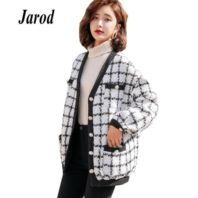 552c638adcbd6 Autumn Winter New single-breasted casual Coat Women 2018 fashion plaid  Tweed jackets Coats Female Comfortable Coats