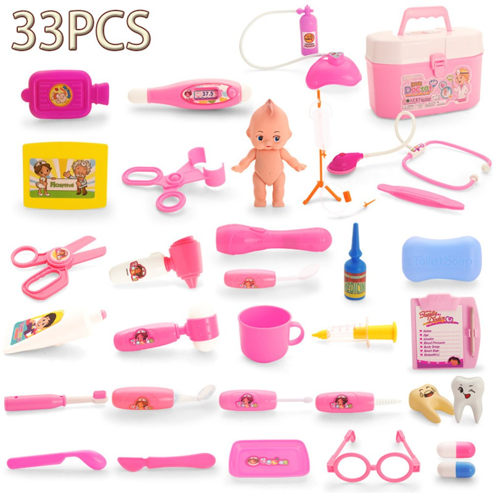 OCDAY 33pcs Doctor Play Toys Set Kids Role Play Medical Kit Baby Educational Box Pretend Play Gift Simulation Pretend Toys New