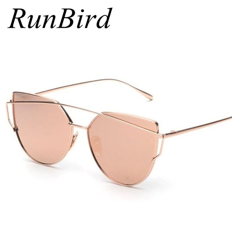 Runbird 2016 new cat eye sunglasses women brand designer fashion twin beams rose gold mirror cateye