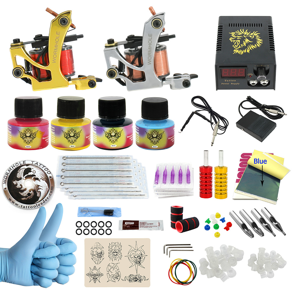WORMHOLE TATTOO Complete Starter Tattoo Kit 2 Machine Gun 4 Color Inks Power Supply CD003 complete tattoo kit 2 machine gun 20 color inks power supply d175gd
