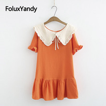 Peter Pan Collar Mini Dress Women Ruffles Vestidos Plus Size Short Sleeve Casual Summer Dress KKFY3683 peter pan collar smock dress