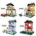 Wange villa casa y del coche de deportes de la ciudad bloques huecos de los niños diy juguetes de los ladrillos educativos compatible con lepin diy