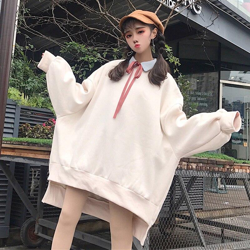 Surdimensionné femmes coeur sweat coréen Harajuku épaissir polaire Hoodies japon Kpop mignon à manches longues lâche Femme Hip Hop pull