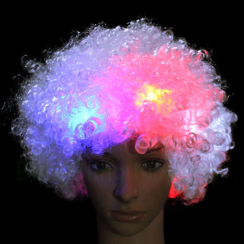 10PCS LED Wigs Light Up Mohawk Wig Cosplay Clown Funny Flashing Curly Wig  for Fans Party -in Novelty Lighting from Lights   Lighting on  Aliexpress.com ... e1fb710cd