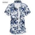 Цветочные Печати Мужчины Рубашка Плюс Размер М-6XL 7XL 2017 Лето новая Мода Мужские Рубашки С Коротким Рукавом Хлопок Высокого Качества Мужской рубашки