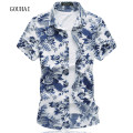 Floral Printing Men Shirt Plus Size M-6XL 7XL 2017 Summer New Fashion Mens Short Sleeve Shirts Cotton High Quality Male Shirts