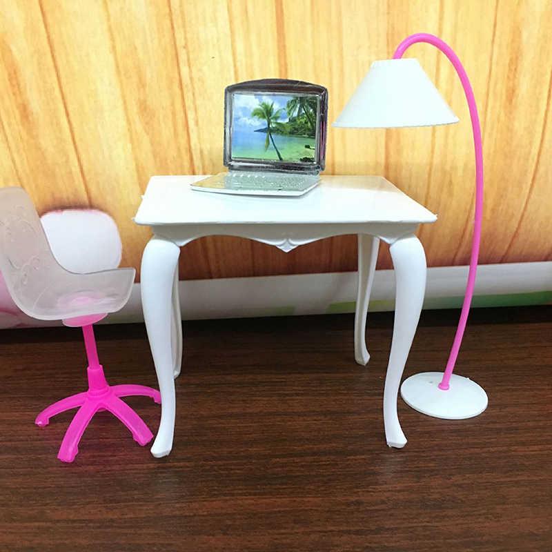 Miniaturowe 1:12 skala laptop zabawki meble dla lalek krzesło biurko szkolne/komputer PC stół z lampą zabawka dla dzieci