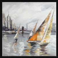 Frameless modern abstract oil painting acrylic oil painting by handmade gift decoration pictures sailboat