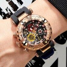 Récif tigre/RT Top marque hommes Sport montres chronographe or Rose squelette montres étanche reloj hombre masculino RGA3059-S