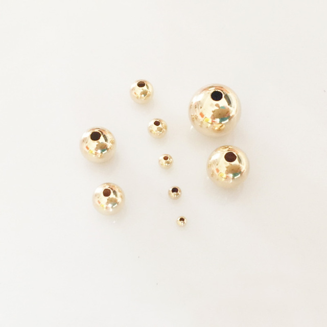 8c9c2fb8d47 14 Gold filled Ball Spacer Beads Copper high grade gold round Bead for  Making Jewelry bracelet necklace accessories 2-8mm 20pcs