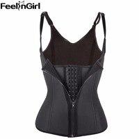 Zipper Hook Row Women Black Latex Waist Trainer Sport Waist Training Corset Vest Steel Bone Waist