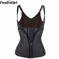 Zipper Hook Row Women Black Latex Waist Trainer Sport Waist Training Corset Vest Steel Bone Waist