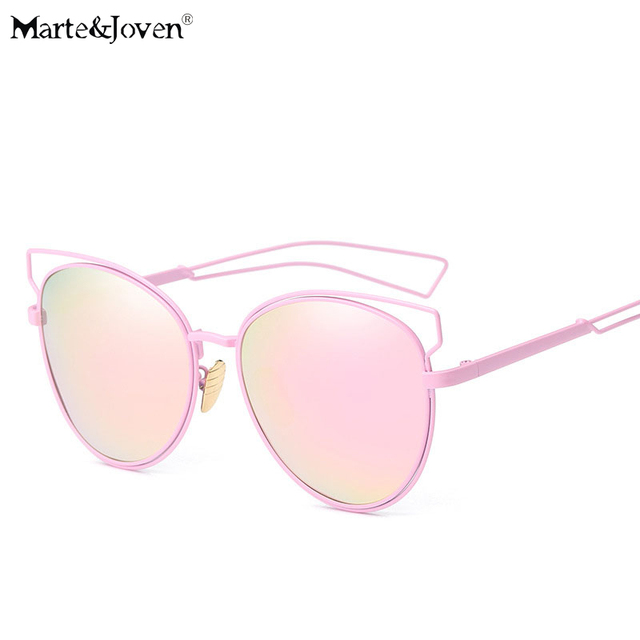 2c73d92d13  Marte Joven  Summer Style Steampunk Metal Nose Pad Cat Eye Sunglasses For  Women Mirrored Anti-Glare Driving Sun Glasses Girls