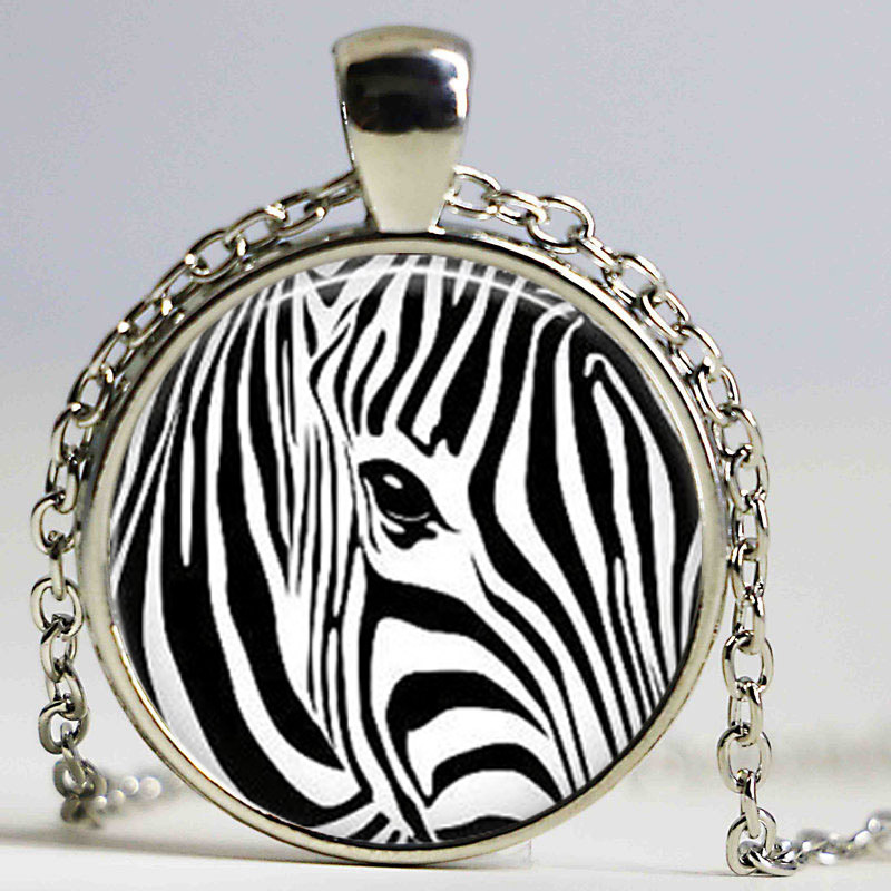 Free shipping Hot Glass Dome Jewelry Zebra Print Necklace ...