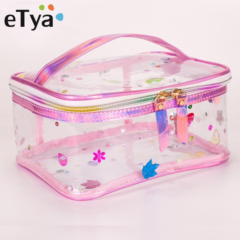 ETya Women Fashion Transparent Cosmetic Bag PVC Clear Travel Bag Tote Makeup Organizer Waterproof Make Up Case Wash Toiletry Bag