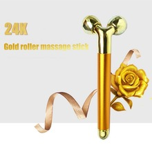 купить 24K Gold Electric 3D Roller Massager Pro Thin Face Massage Relaxation Full Body Facial Wrinkle Remover Face Lift Tool дешево