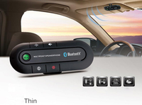 2016 High Quality Wireless Bluetooth Slim Magnetic Handsfree Car Kit Speaker Phone Visor Clip Red Sales