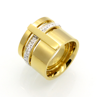 18k Gold Plated Zircon Crystal Titanium Stainless Steel Rings For Women Men Wedding Jewelry Three Layers