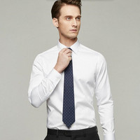 Men Shirt Tailor Made White Groom Dress Shirt Solid Color Stylish Business Formal Occasions Shirt Long