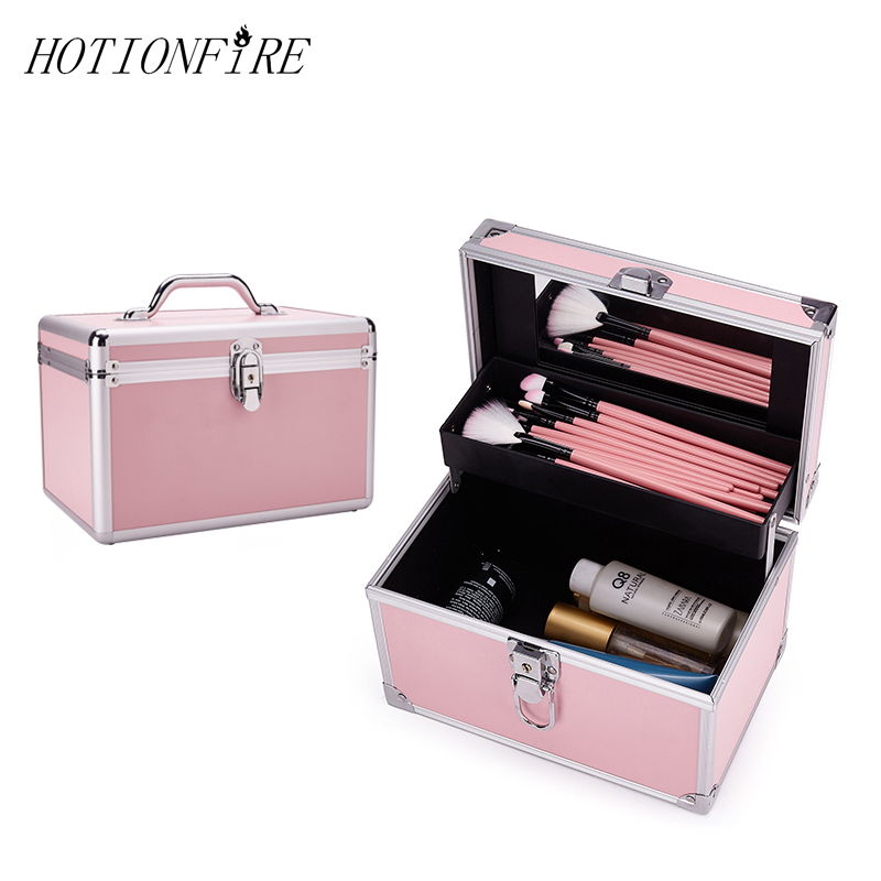 Women Cosmetic Case Square Flat Box Type Generous Portable Solid Clasp Fashion Large Capacity Portable MakeUp