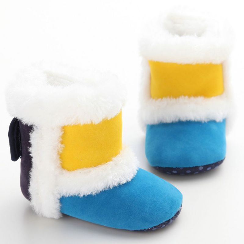 2017 зимние для маленьких девочек мальчиков Обувь зима теплая Сапоги и ботинки для девочек без шнуровки Bootie для малышей Мягкая подошва Prewalker