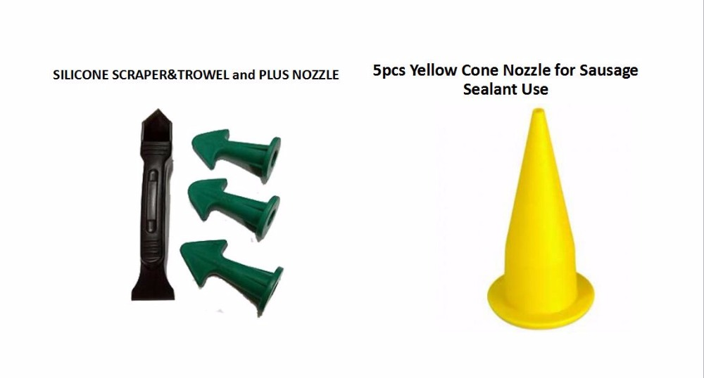 Free Shipping 4sets Per Order Multi-functional Sealant Scraper And Trowel Nozzle Plus And Yellow Cone Nozzle For Sausage Sealant