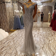 Extreme Luxury Sexy Sparkly Tulle Evening Dresses Crystal Sequined Mermaid Elegant Evening Gowns 2017 Robe De Soiree Real Photo