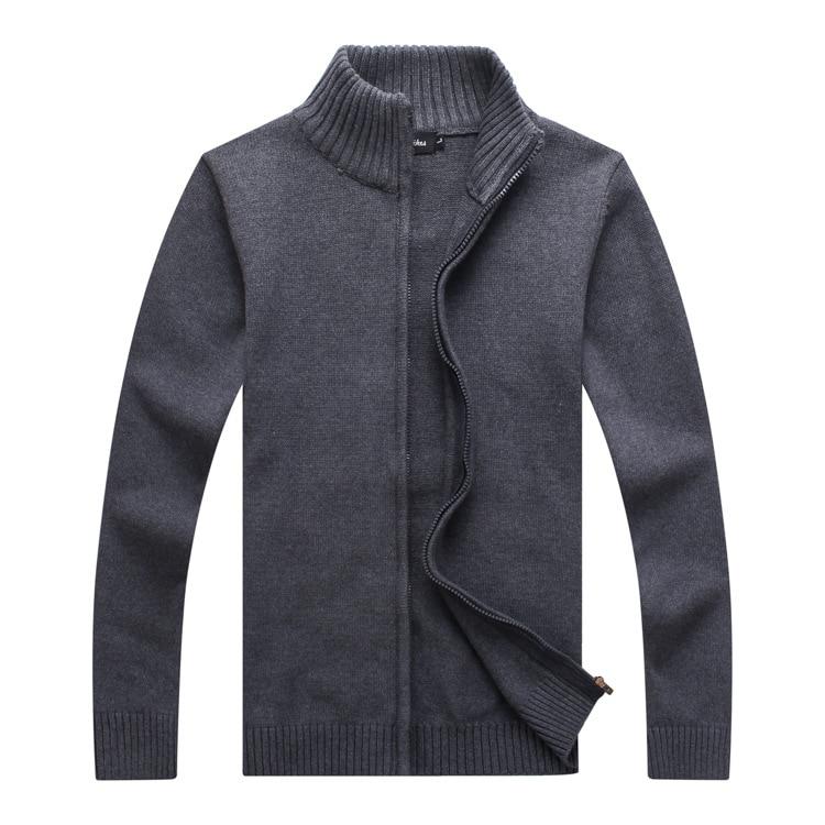 ICPANS Stand Collar 2019 Winter Sweater Men Vintage Zip Casual Men Cardigan Thick Cashmere Sweater Outerwear Blue Plus Size XXXL