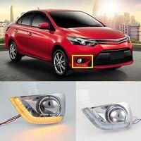 2x Белый поворотный желтый дневной ходовой свет дальнего света для Toyota Vios 2014-16