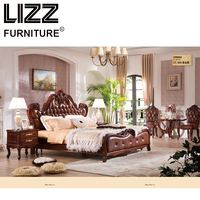 Chesterfield Bed Royal Furniture Set Bed Room Antique Style Furniture Solid Wood Night Table Luxury Leather Bed Kontinentalsng
