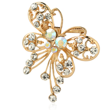 2015 New Arrived Fashion Retro Gold Alloy rhinestone brooch Resin Butterfly Shape Female Brooches for women pin up broch jewelry