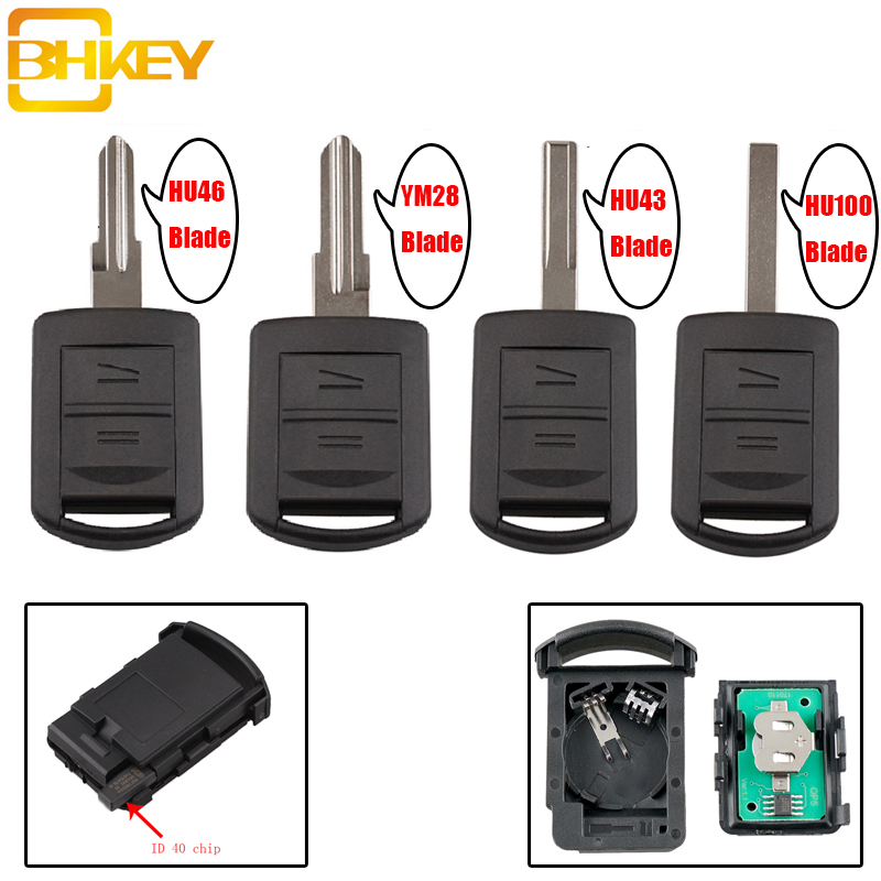 BHKEY Car-Key Combo Remote-Key-Case Opel Corsa Tigra Vauxhall Id40-Chip 5WK4 Cover 2buttons