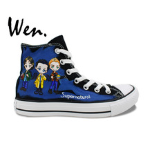 Wen Hand Painted Blue Shoes Design Custom Supernatural High Top Canvas Sneakers for Men Women's Christmas Gifts
