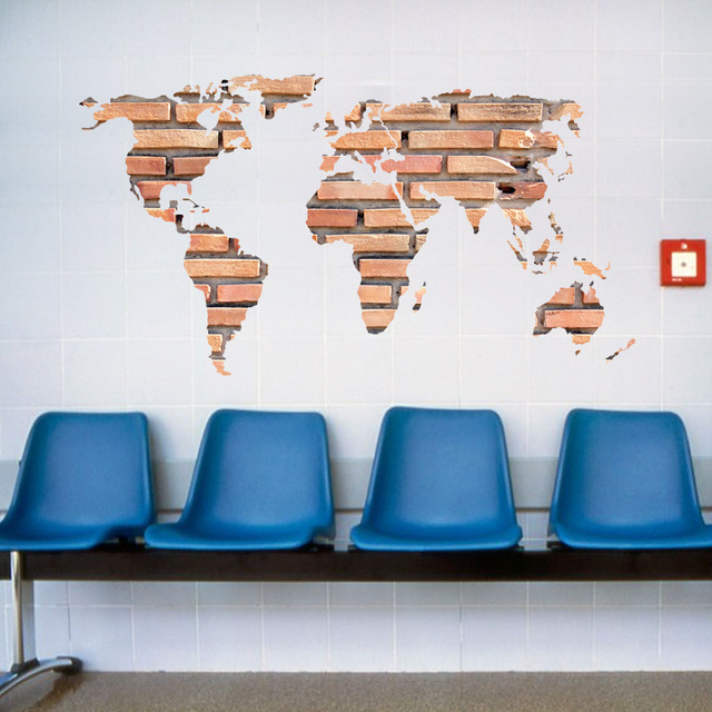 Jane europe retro creative unique stone brick world map wall sticker jane europe retro creative unique stone brick world map wall sticker office art sofa background stickers gumiabroncs Gallery