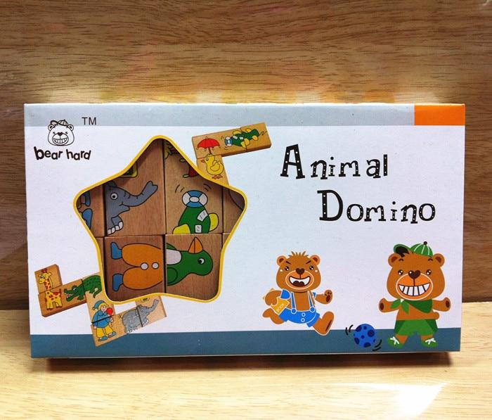 Mainan Bayi Haiwan Haiwan Domino 15Pcs Blok Bangunan Mainan Kayu - Mainan pembinaan - Foto 2